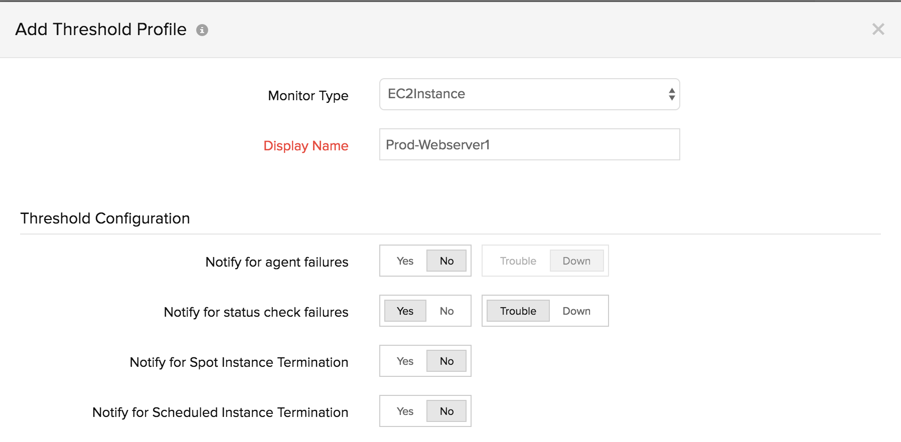 EC2 instance threshold profile
