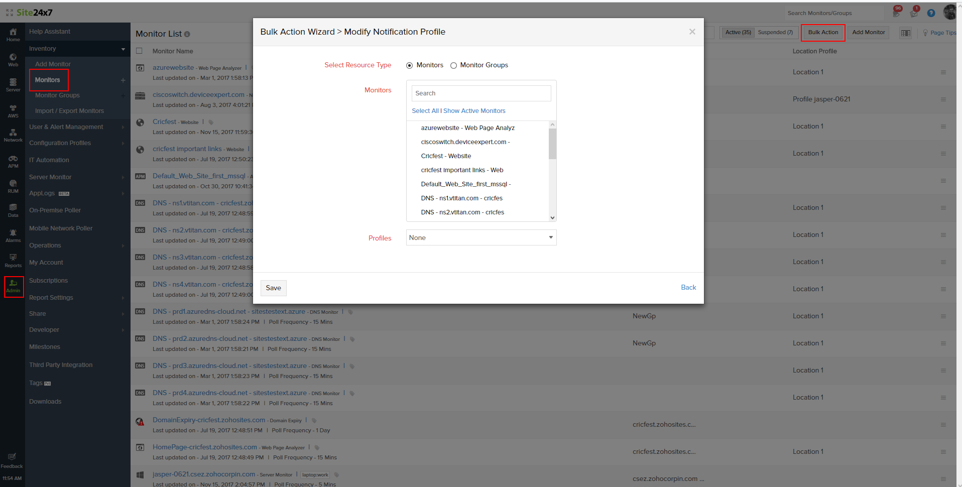 Bulk Actions for Notification Profile