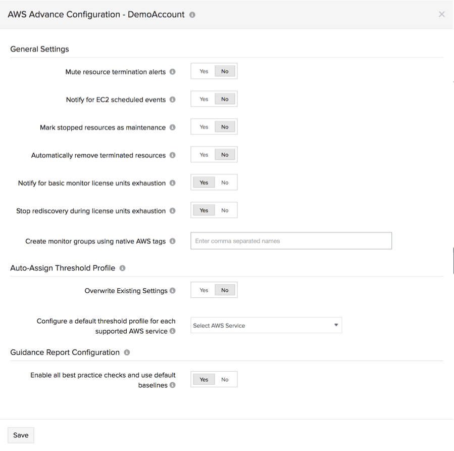 advanced configurations for your AWS integration