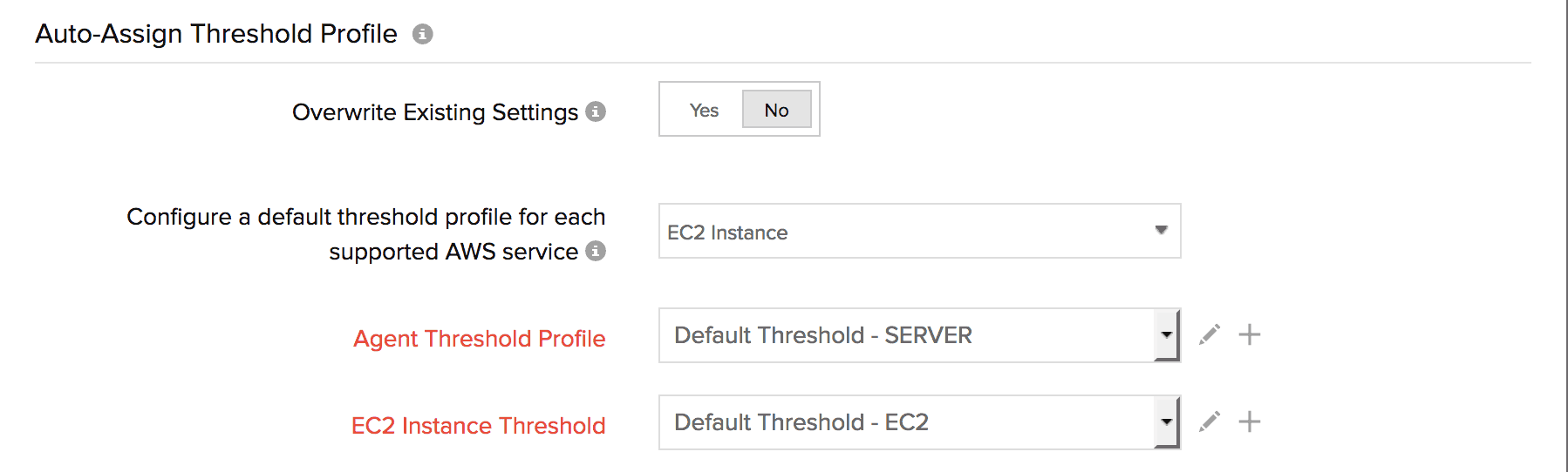 Auto assign threshold profile for EC2 instance
