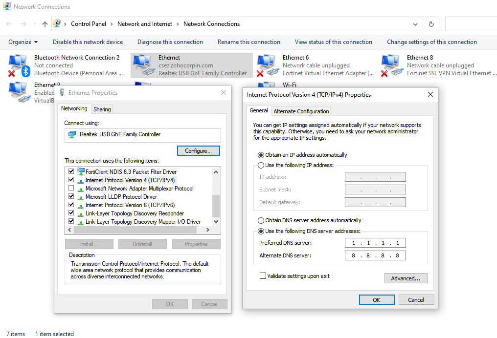 Changing DNS server address in Windows