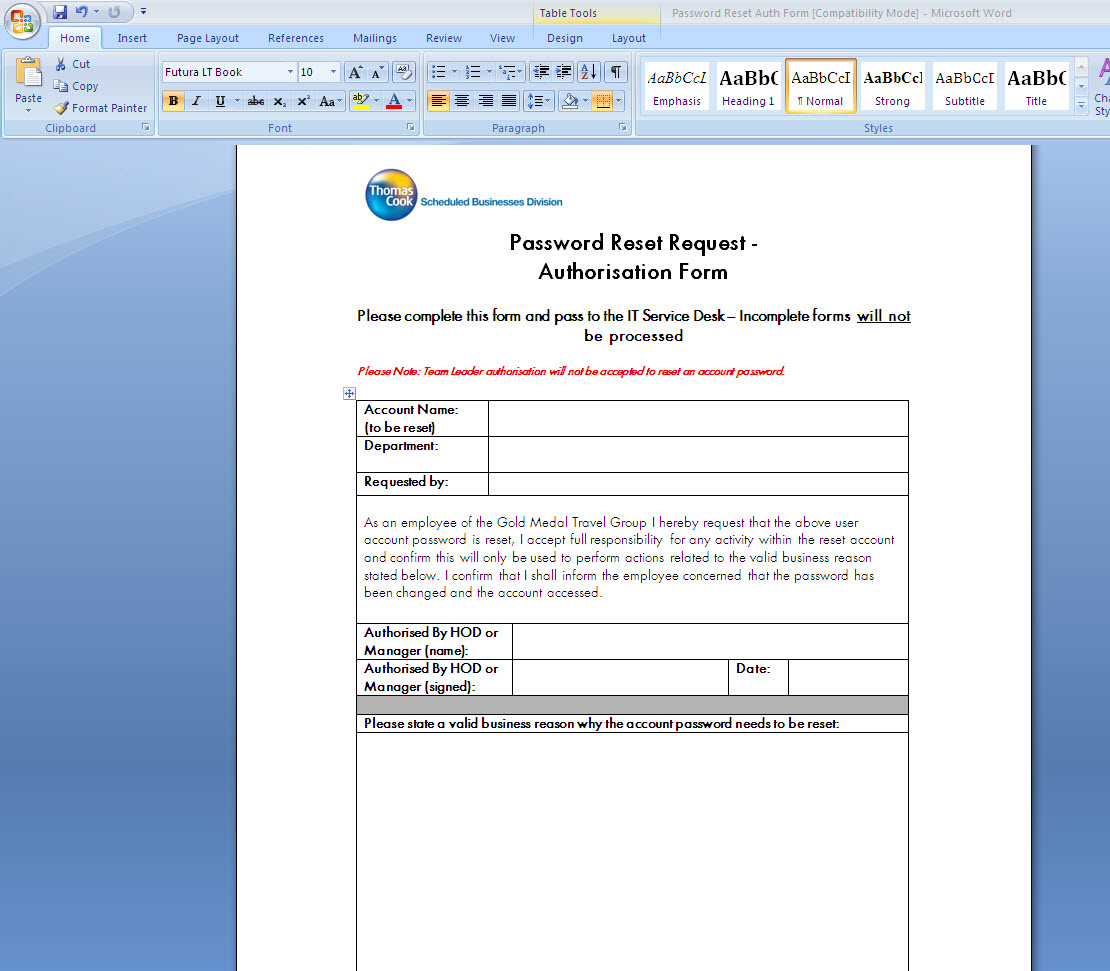 Incident Template Font Format Issue copying from Word – Reporting Template Word