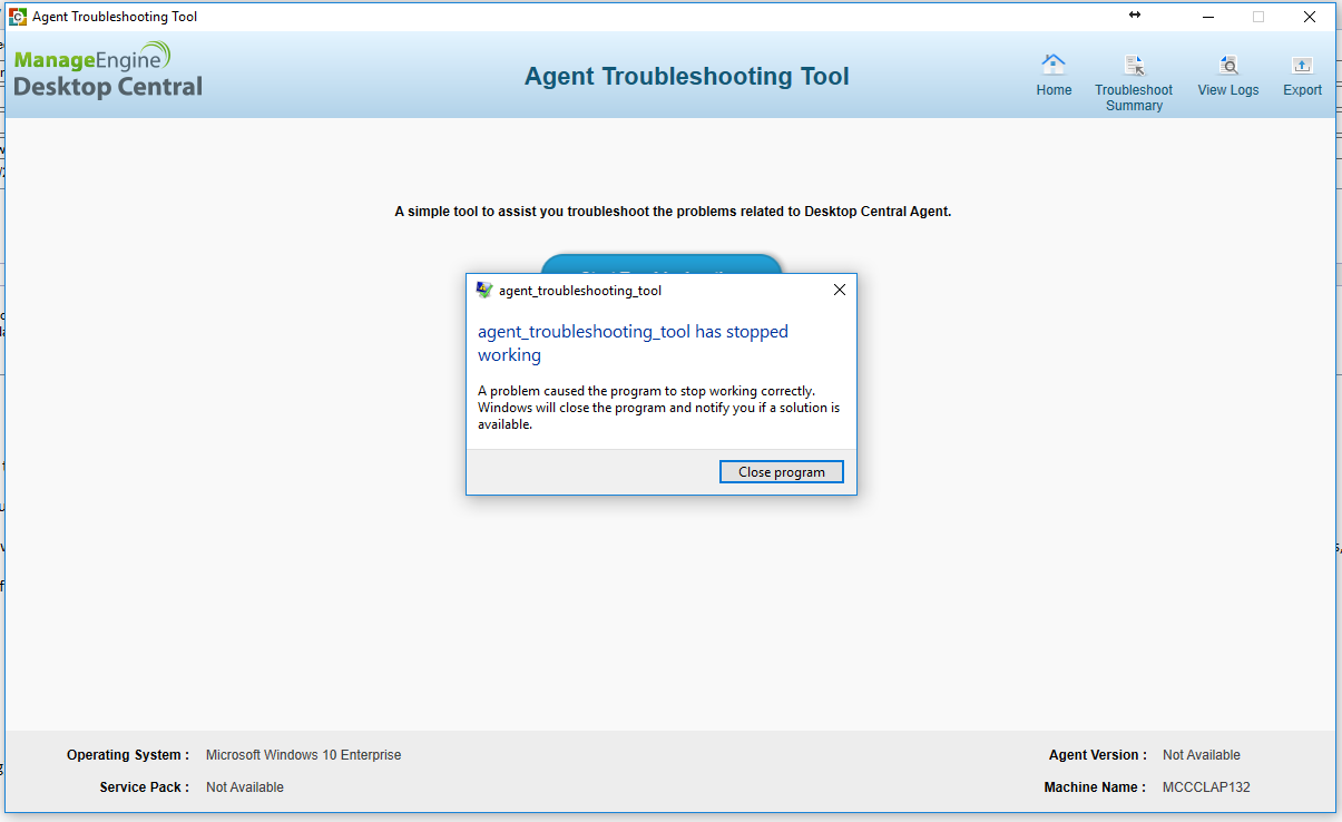 Agent Troubleshooting Tool Crashes