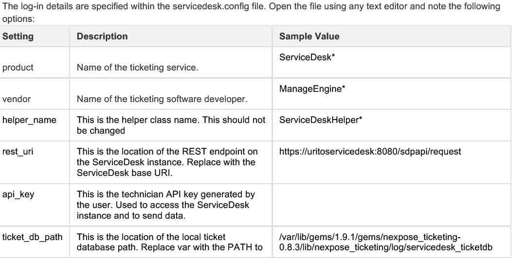 Integrating Nexpose to Manage-Engine Service-Desk